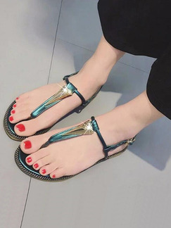 Blue and Gold Leather Open Toe Ankle Strap Sandals