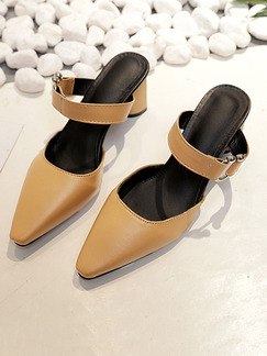 Apricot Leather Pointed Toe High Heel Chunky Heel 5CM Heels