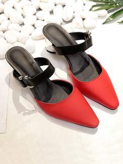 Red and Black Leather Pointed Toe High Heel Chunky Heel 5CM Heels