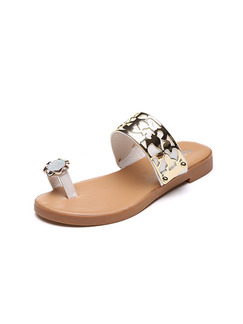 White Beige and Gold Leather Open Toe 3CM Sandals