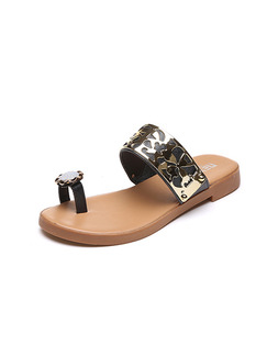 Black Beige and Gold Leather Open Toe 3CM Sandals