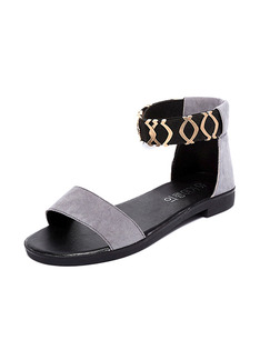 Grey Black and Gold Suede Open Toe Ankle Strap Sandals