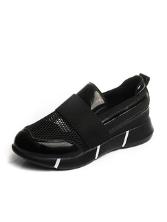 Black Patent Leather Round Toe Rubber Shoes