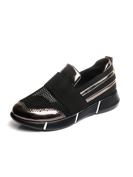 Black and Bronze Patent Leather Round Toe Rubber Shoes