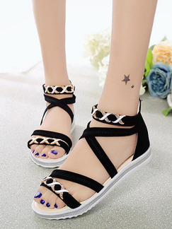 Black and Beige Suede Open Toe Ankle Strap Sandals