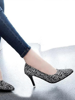 Black and Grey Leather Pointed Toe Pumps High Heels Stiletto Heels 9CM Heels
