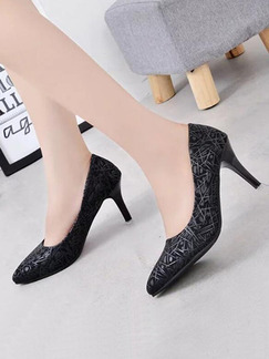 Black Leather Pointed Toe High Heel Stiletto Heel Pumps 9CM Heels