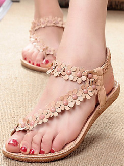 Beige Leather Open Toe Ankle Strap Sandals