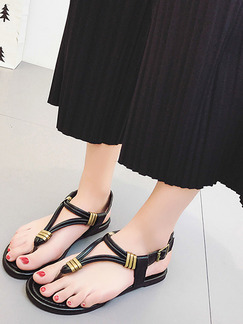 Black and Gold Leather Open Toe Ankle Strap Sandals