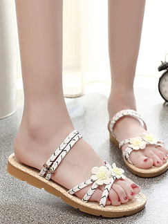 White and Beige Leather Open Toe Sandals