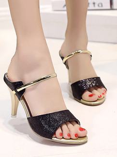 Black and Gold Patent Leather Open Toe High Heel Stiletto Heel 8.5CM Heels