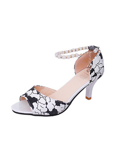 Black and White Leather Open Toe High Heel Stiletto Heel Ankle Strap 7CM Heels