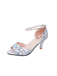 Blue and White Leather Open Toe High Heel Stiletto Heel Ankle Strap 7CM Heels