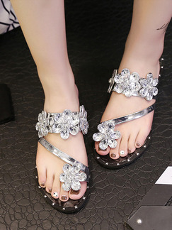 Black and Silver Leather Open Toe CSA383 Sandals