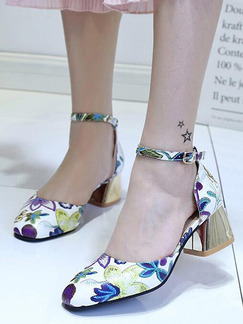 Colorful Leather Round Toe High Heel Chunky Heel Ankle Strap 5CM Heels