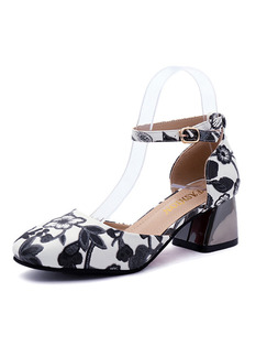 Black and White Leather Round Toe High Heel Chunky Heel Ankle Strap 5CM Heels