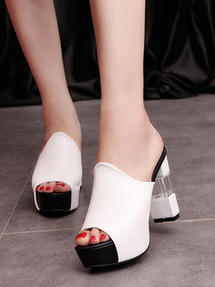 Black and White Leather Peep Toe Platform High Heel Chunky Heel 11CM Heels