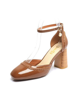 Apricot Patent Leather Round Toe High Heel Chunky Heel Ankle Strap 8CM Heels
