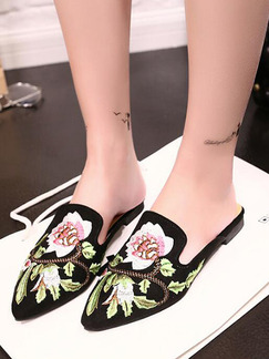 Black Colorful Canvas Pointed Toe Flats