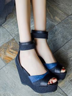 Black and Blue Canvas Peep Toe Platform Ankle Strap 10.5CM Wedges