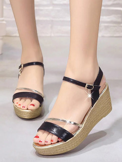 Black Silver and Beige Leather Open Toe Platform Ankle Strap 7CM Wedges