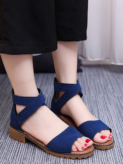 Blue and Apricot Suede Open Toe Low Heel Chunky Heel Ankle Strap 3.5CM Heels