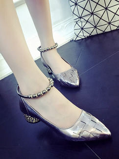 Silver Leather Pointed Toe Low Heel Chunky Heel 4CM Heels