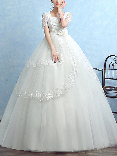 White Square Ball Gown Appliques Embroidery Dress for Wedding