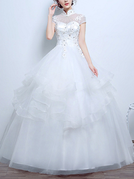 White Halter Illusion Princess Beading Appliques Ruffle Dress for Wedding