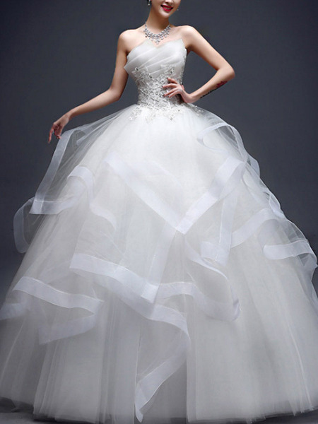 White Strapless Ball Gown Appliques Beading Ruffle Dress for Wedding