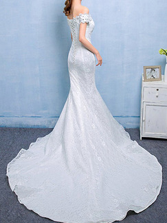 White Off Shoulder Mermaid Beading Embroidery Appliques Dress for Wedding