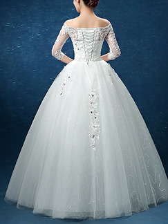 White Off Shoulder Ball Gown Beading Appliques Dress for Wedding
