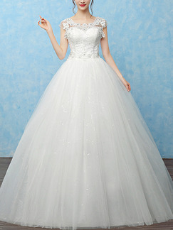White Bateau Princess Beading Appliques Dress for Wedding