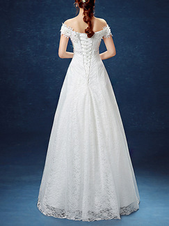 White Off Shoulder A-Line Embroidery Appliques Beading Dress for Wedding