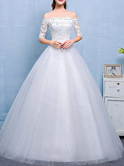 White Off Shoulder Princess Beading Appliques Dress for Wedding