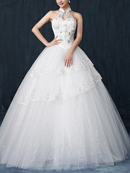 White Halter Ball Gown Beading Appliques Embroidery Dress for Wedding