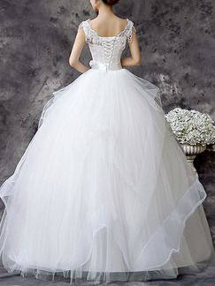 White Bateau Ball Gown Embroidery Beading Sash Dress for Wedding