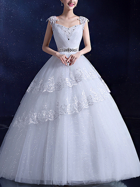 White V Neck Square Ball Gown Beading Sash Embroidery Appliques Dress for Wedding