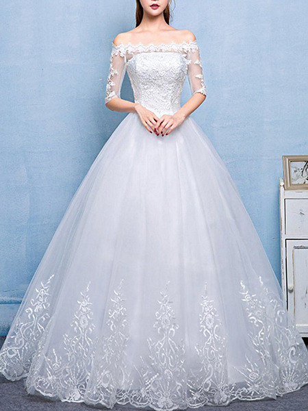White Off Shoulder Princess Embroidery Dress for Wedding