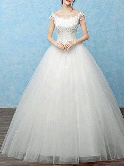 White Bateau Princess Beading Embroidery Dress for Wedding
