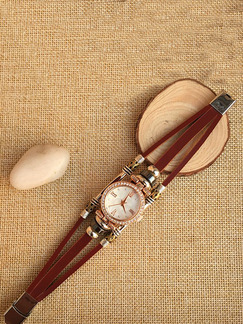 Brown Leather Band Rhinestone Bracelet Quartz Watch