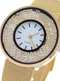 Gold Gold Plated Band Rhinestone Quartz Watch