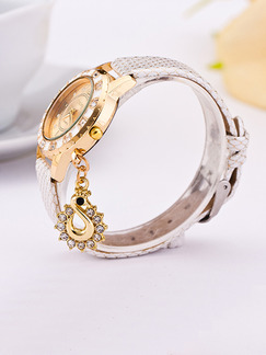 White Leather Band Rhinestone Quartz Watch