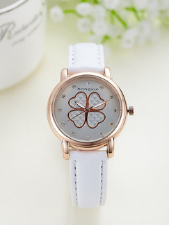 White Leather Band Quartz Watch