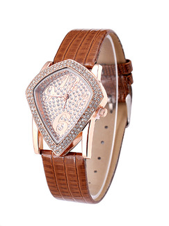 Brown Leather Band Rhinestone Quartz Watch