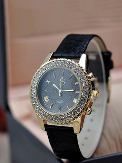 Black Leather Band Rhinestone Quartz Watch