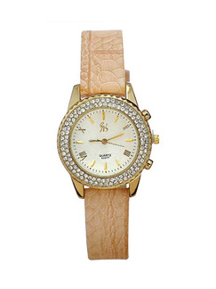 Beige Leather Band Rhinestone Quartz Watch