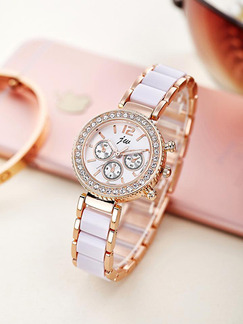 White and Gold Gold Plated Band Bracelet Rhinestone Quartz Watch