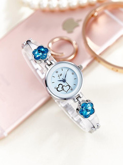 Silver and Blue Silver Plated Band Bracelet Rhinestone Quartz Watch