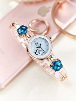Gold and Blue Gold Plated Band Bracelet Rhinestone Quartz Watch